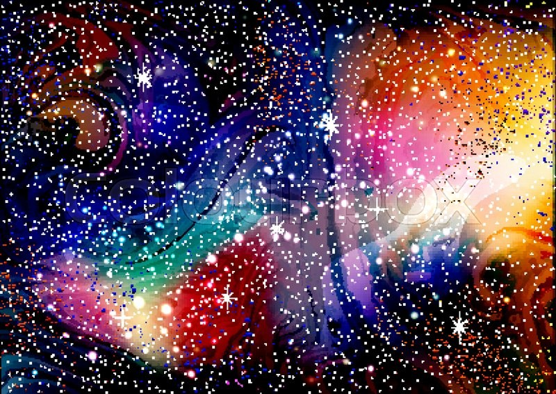 Cosmic galaxy watercolor background with stardust and