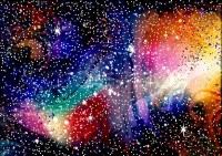 Cosmic galaxy watercolor background with stardust and ...