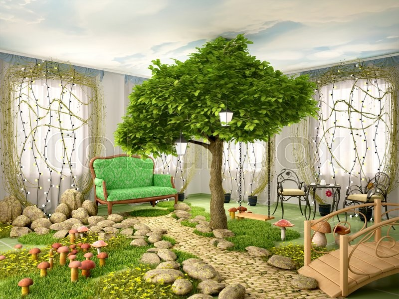 the best living room design with nature concept by free