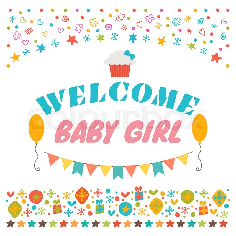 Welcome baby girl Announcement card Baby shower greeting card - baby congratulation card