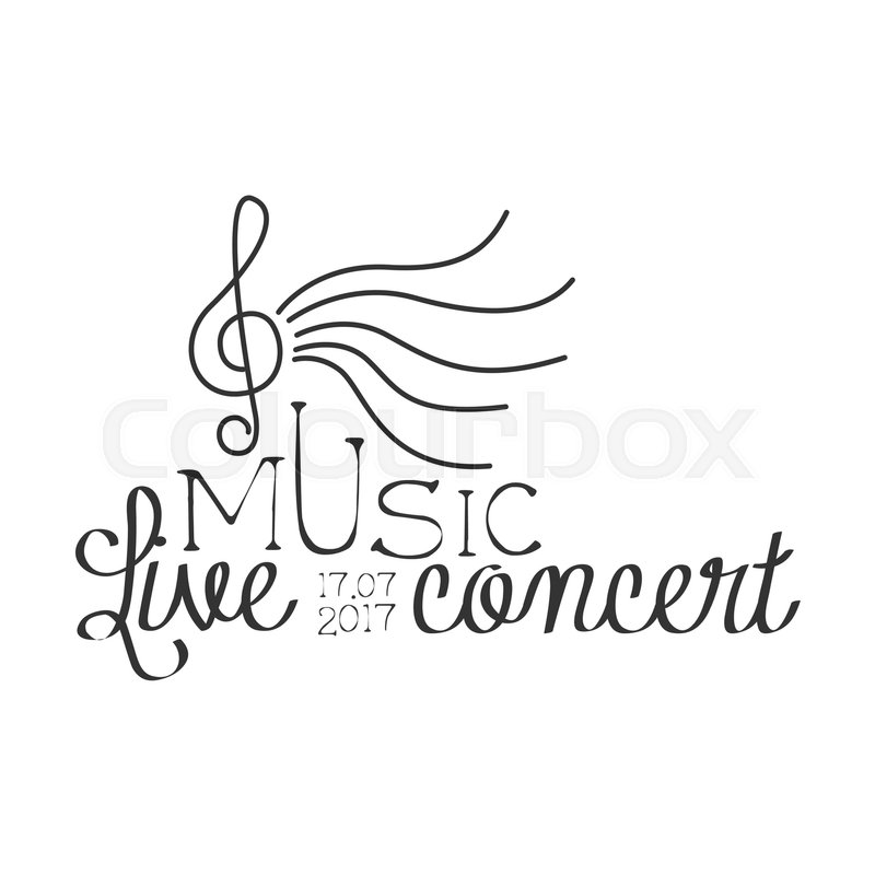 Live Music Concert Black And White Poster With Calligraphic Text And - treble clef template