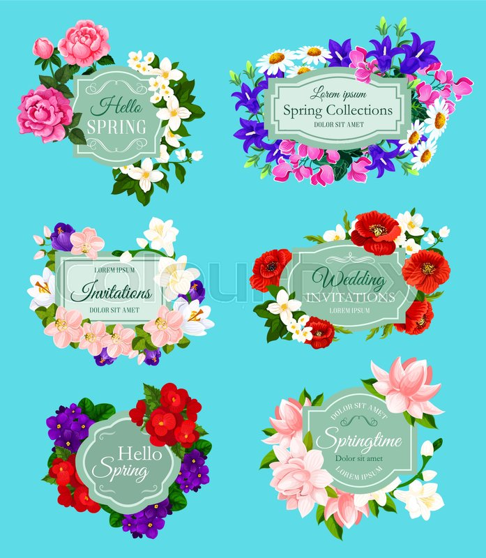 Spring flowers bouquets for wedding invitations and holiday greeting