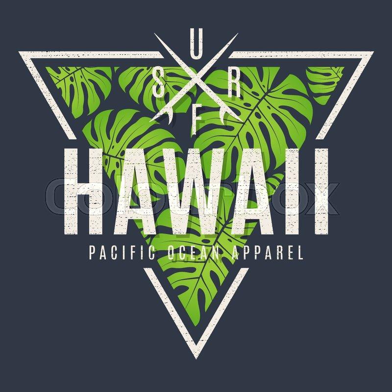 Hawaii tee print with with tropical