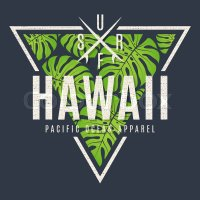 Hawaii tee print with with tropical