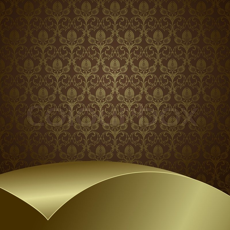 Wallpaper Black And White Damask Brown Background With Flowers And Leaves And Gold Sheet
