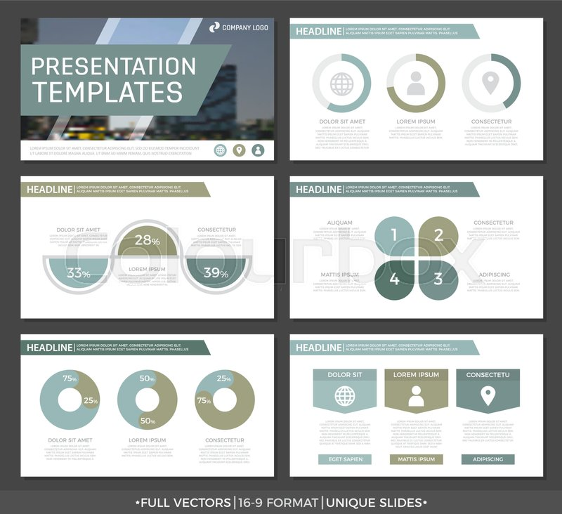 Set of green and gray elements for multipurpose presentation