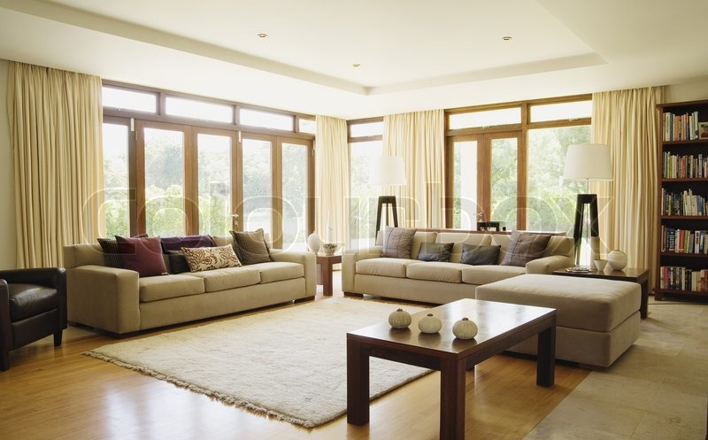 Empty Living Room With Large Windows Can Be As Background