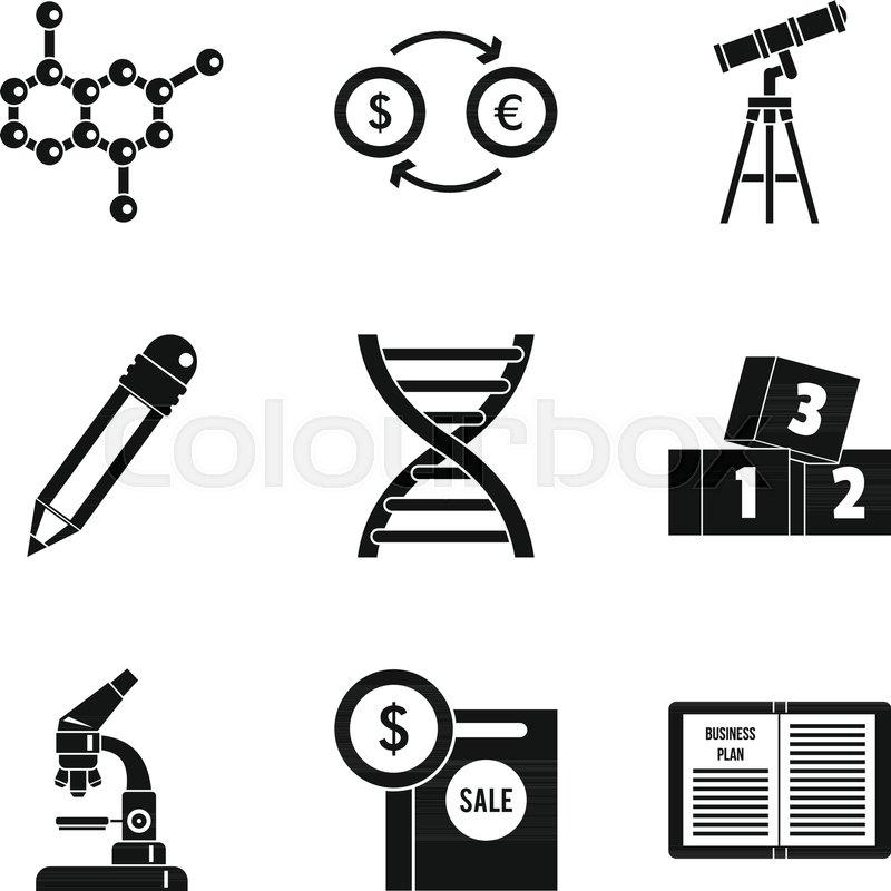 Scientific report icons set Simple set of 9 scientific report - scientific report