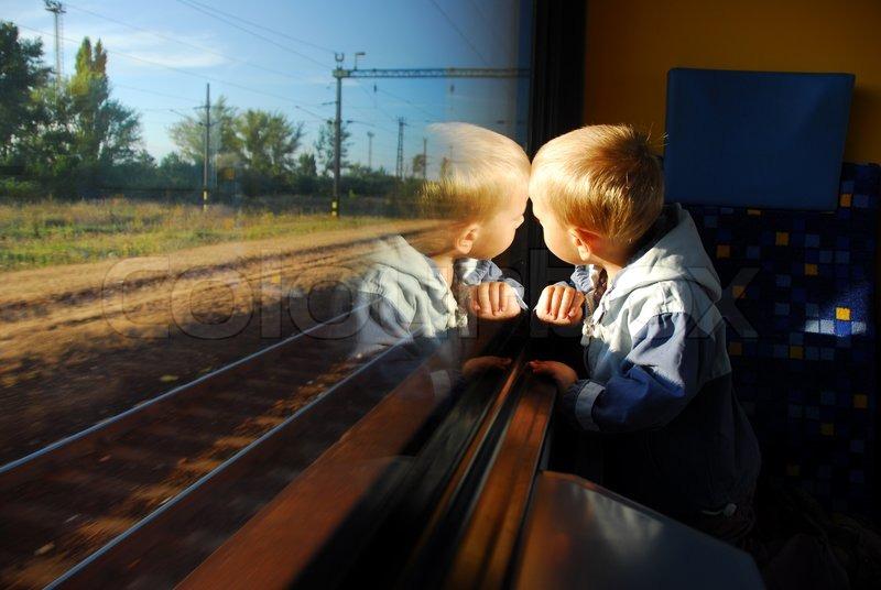 New Attitude Girl Wallpaper Little Boy Looking Through Window He Stock Photo