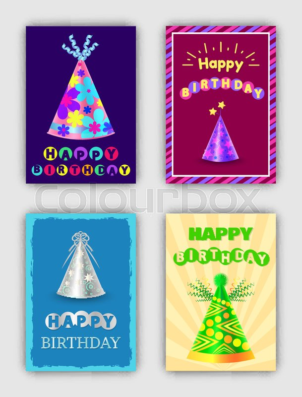 Happy birthday cards set of vector illustrations, colorful frames