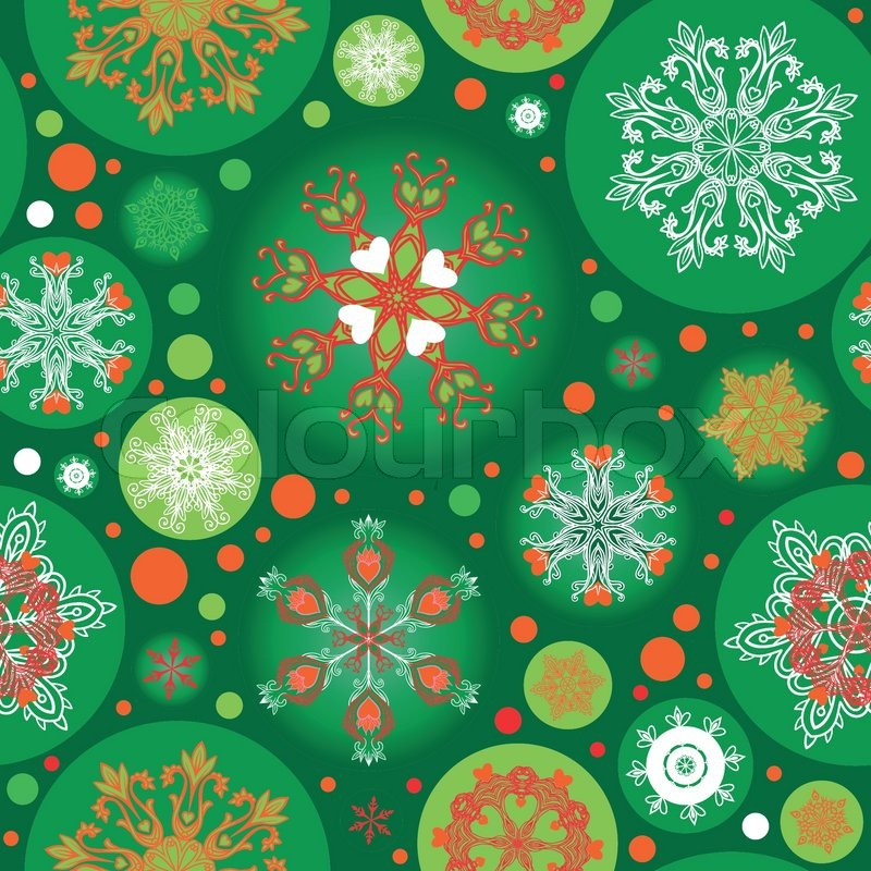 Cute Circle Wallpaper Seamless Green Christmas Pattern Stock Vector Colourbox