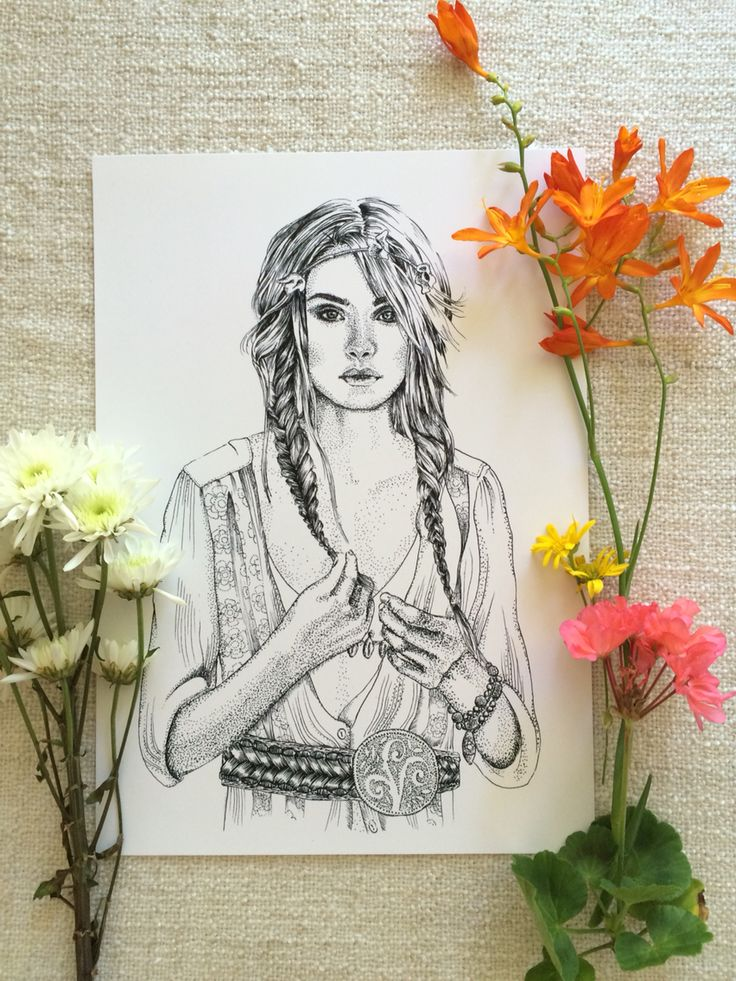 Boho Bohemian Princess illustration art print by Tegan Swyny of Colour Cult. Boho girl art print