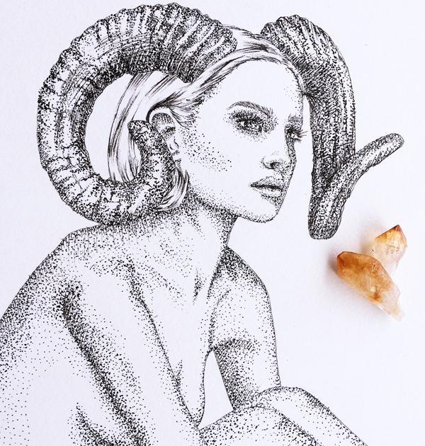 Aries Horoscope Zodiac Print hand illustration by Tegan Swyny of Colour Cult graphic design and art, Brisbane.