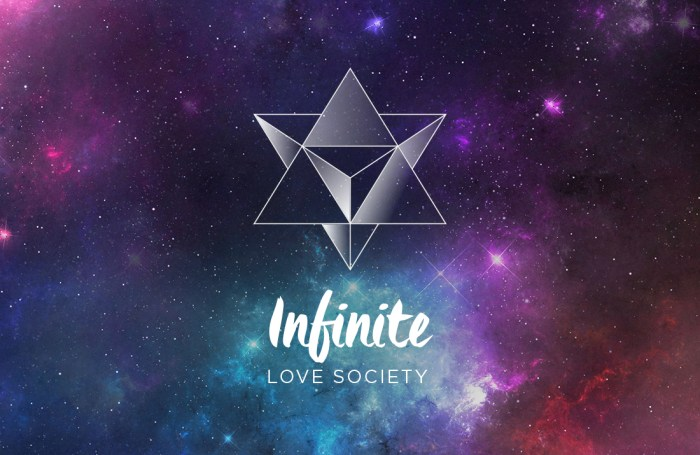 The Infinite Love Society merkabah sacred geometry logo by Tegan Swyny of Colour Cult.