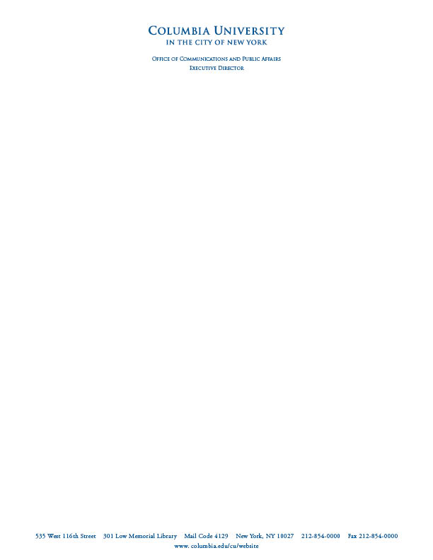 Letterhead \ Business Cards Columbia University in the City of - business letterhead