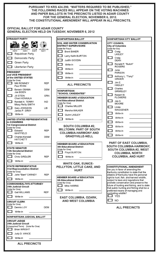 Adair County, Kentucky sample ballot, 2012 Ballot design - header for resume