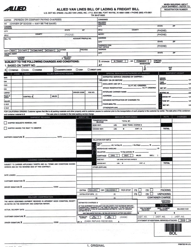 Bill of Lading When Hiring Movers Columbine Moving - bill of lading form