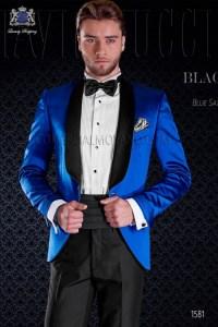 Italian tuxedo royal blue satin with shawl collar Ottavio ...