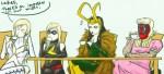 Emma, Carol, female Loki, and Deadpool