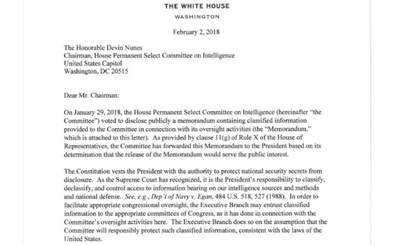 Nunes 4-page memo released Friday afternoon by the House