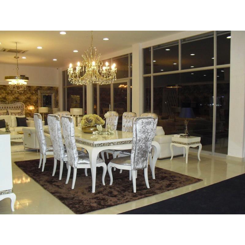 Salle à manger de luxe Argent meuble buffet et chaises