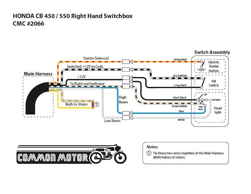 Honda CB450 / CB550F / CB550F Right Hand Early-Style Switch Box