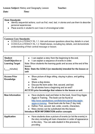 Common Core History Lessons - Free Lesson Plan Template - lesson plan outline