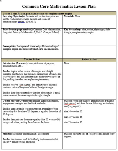 Common Core Math Lesson Plan Template, FREE - lesson plan outline