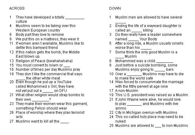 Islam crossword puzzle common sense evaluation