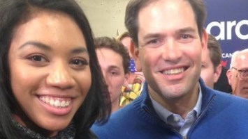 VCU journalism student Niyah White snaps a photo with GOP candidate Marco Rubio in Milford, New Hampshire. Photo courtesy of Niyah White