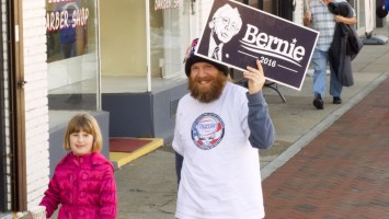 Bernie Sanders supporters marched down Broad street earlier this month to show support before the March 1 primary election. Photo by Andrew Crider