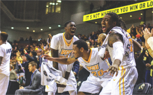 Nothing but smiles for VCU's juniors Jordan Burgess, Mo Ali-Cox and now-alum Jarred Guest '15. photo by brooke marsh