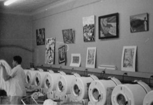 The interior of Meadow Laundry at Grace and Harrison Streets, where the Village is today, c. 1963. Photo courtesy of Dale Brumfield