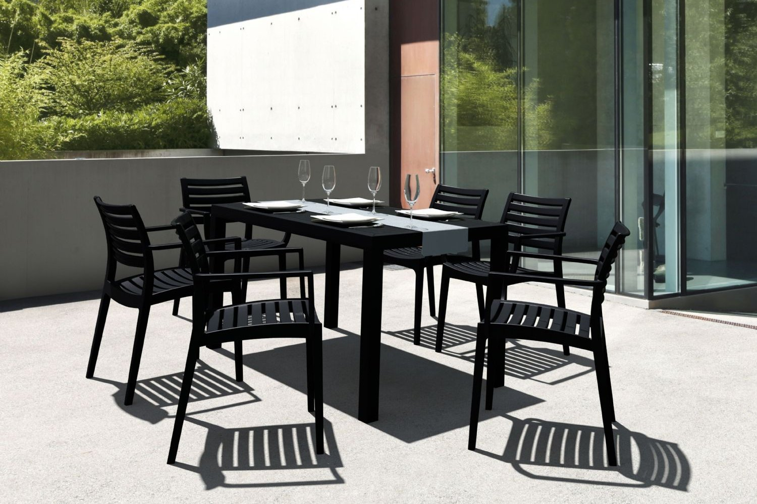 Compamia Artemis Resin Rectangle Outdoor Dining Set 7