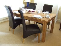 Oak Solid Oak Dining Table Set 160cm - Leather Dining ...