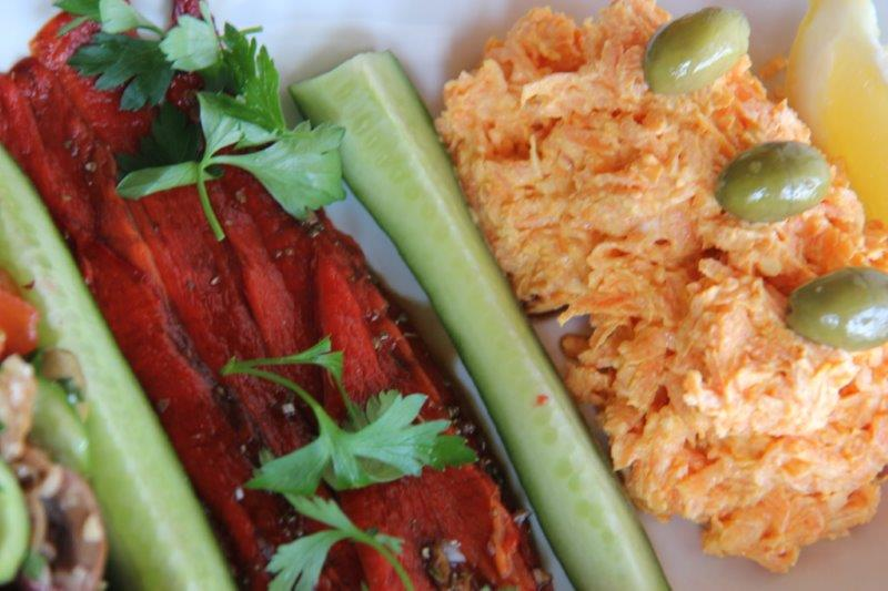 Marinated Roasted Bell Peppers & Yogurt Carrot Dip