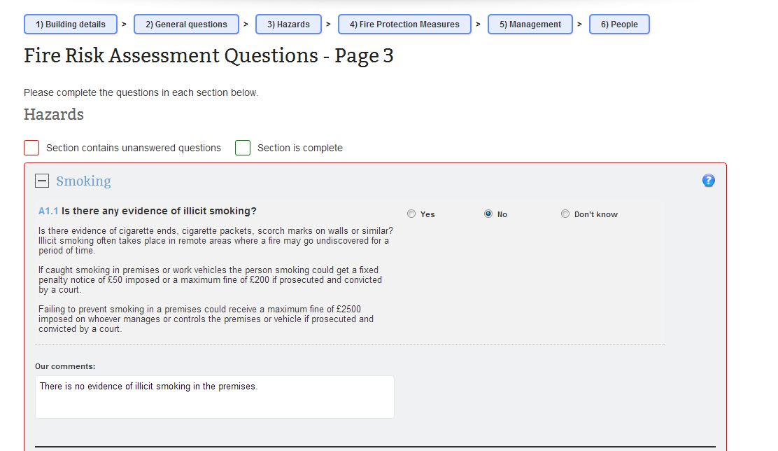 Complete your own Online Fire Risk Assessment for £50 - assessment report format