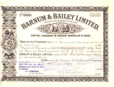 Barnum and Bailey Limited Stock Certificate