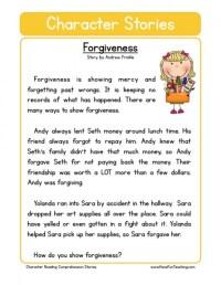 Reading Comprehension Worksheet - Forgiveness