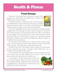 Reading Comprehension Worksheet - Food Groups