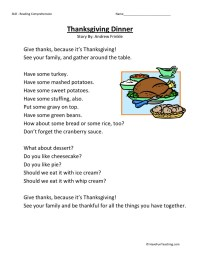 Reading Comprehension Worksheet - Thanksgiving Dinner