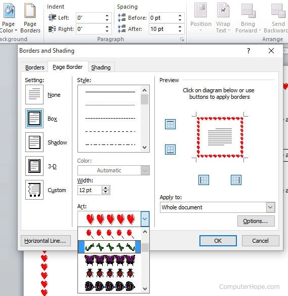 How to create a page border in Microsoft Word