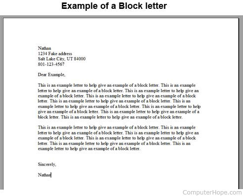 What is a Block Letter? - the format of a letter