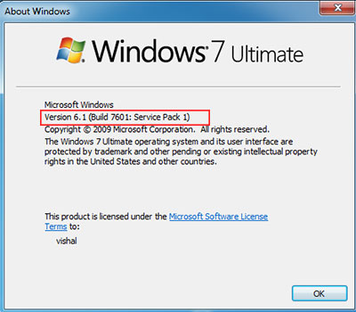 how to change windows 7 service pack 0 to 1
