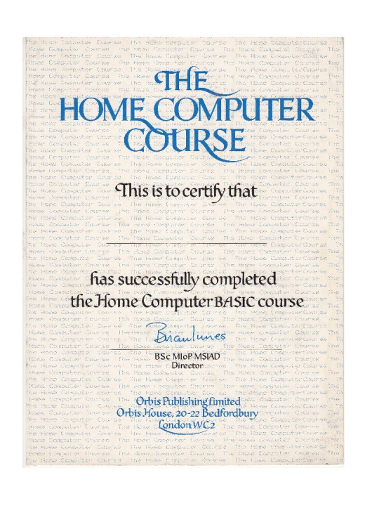The Home Computer Course - Completion Certificate Magazine