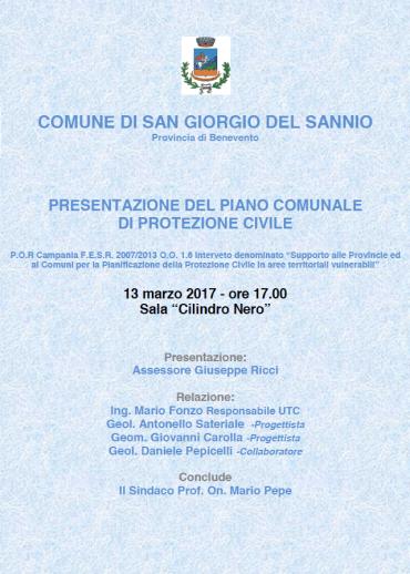 Presentazione del piano comunale di Protezione Civile