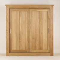 Quercus Solid Oak Sliding Door Wardrobe 1.8m - Con-Tempo ...