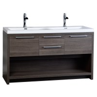 "57"" Contemporary Double Vanity Set with Wavy Sink Grey Oak ..."