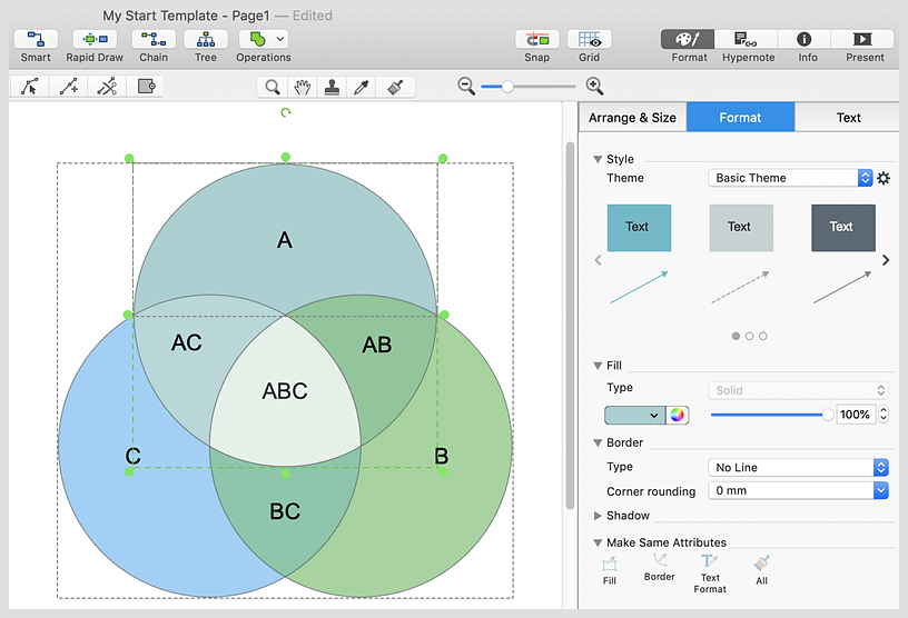 how to make a venn diagram on pages