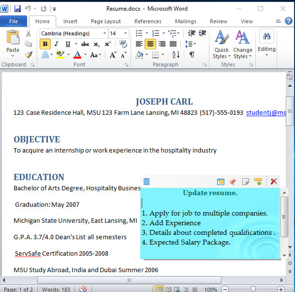 Attaching sticky notes to Microsoft Word Document in Windows - degree in microsoft word